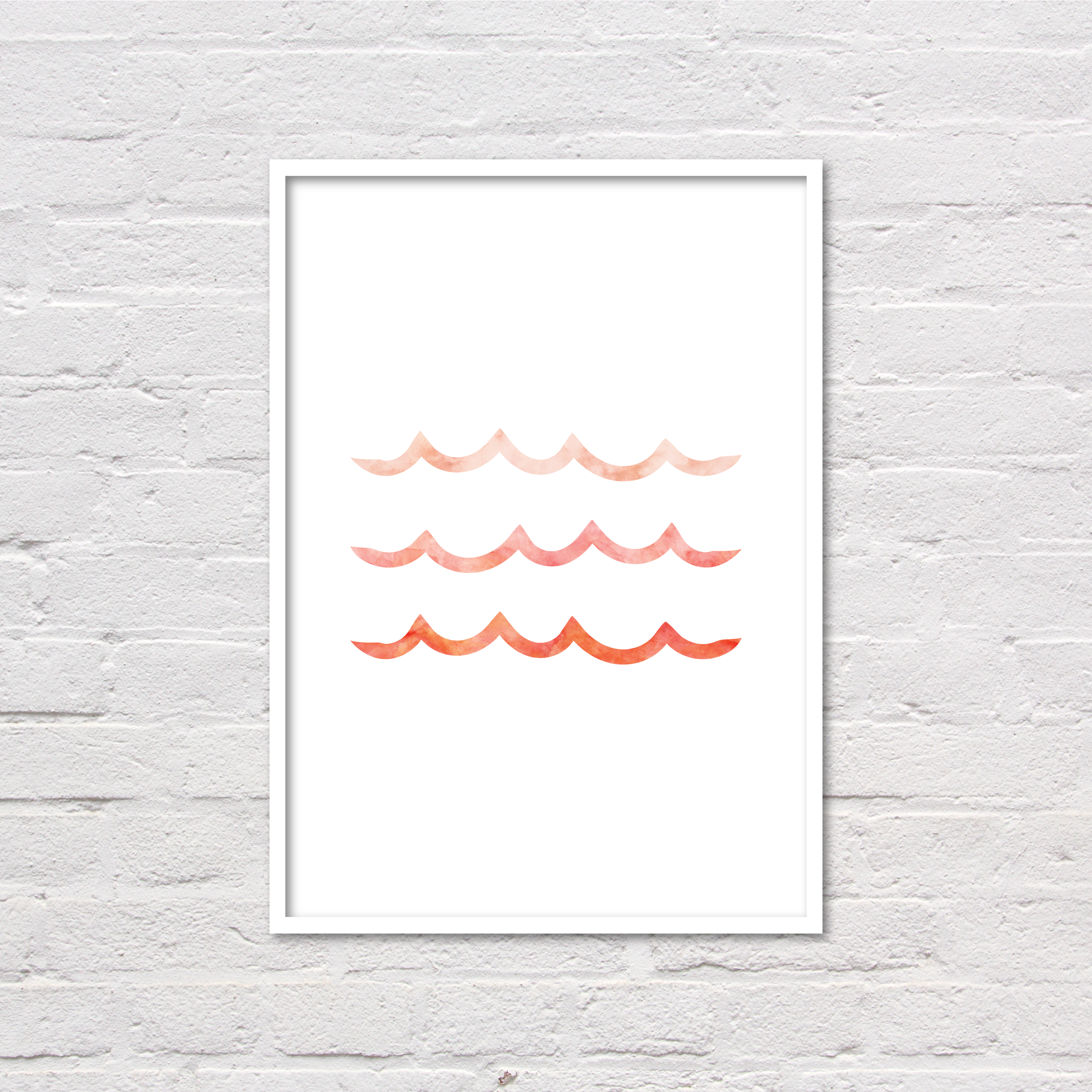 Coral Wave Print, Girl Nursery Art, Ocean Printable, Waves Print, Modern Coral Wall Art, Coastal Chic Art, Coral Prints, Digital Prints